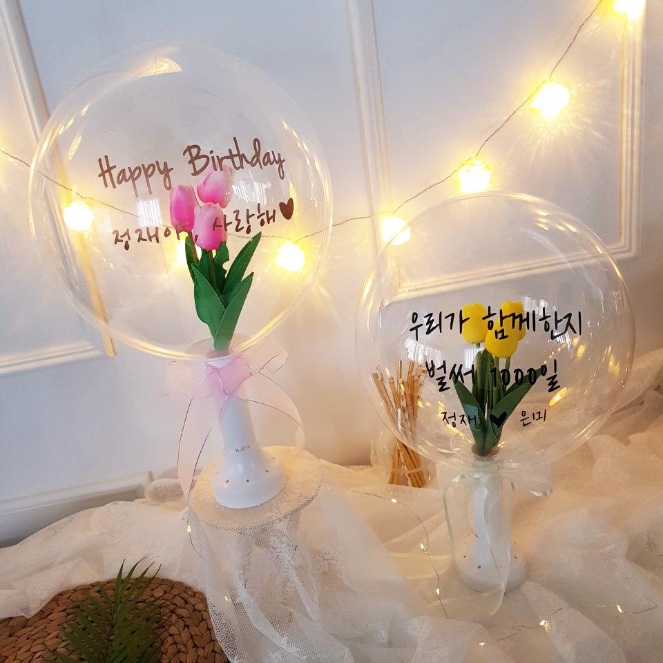재미제이 레터링꽃풍선 용돈풍선 DIY KIT(생일 환갑 칠순 결혼기념일 이벤트풍선), 1set, 핑크튤립_골드레터링