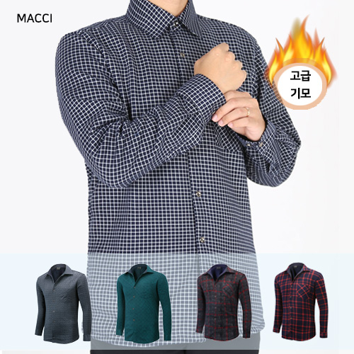 MACCI 남성 겨울 기모셔츠 체크 남방 빅사이즈