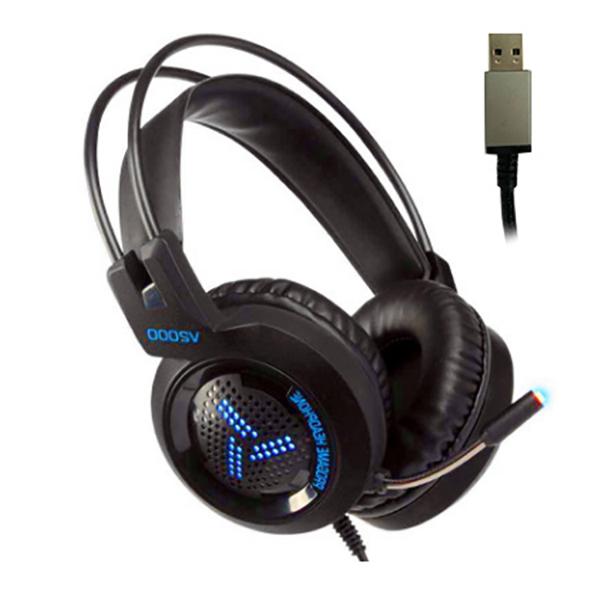 티비유통 7.1 채널 게이밍 헤드셋 어학용 헤드폰 교육용, 헤드셋 블루