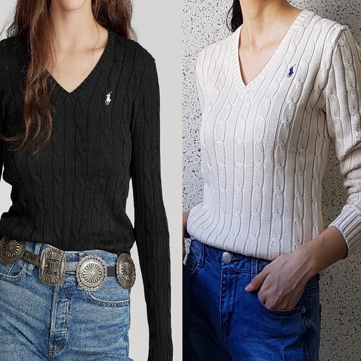 [미국출고] 폴로랄프로렌 여성 V넥 꽈배기 스웨터 니트