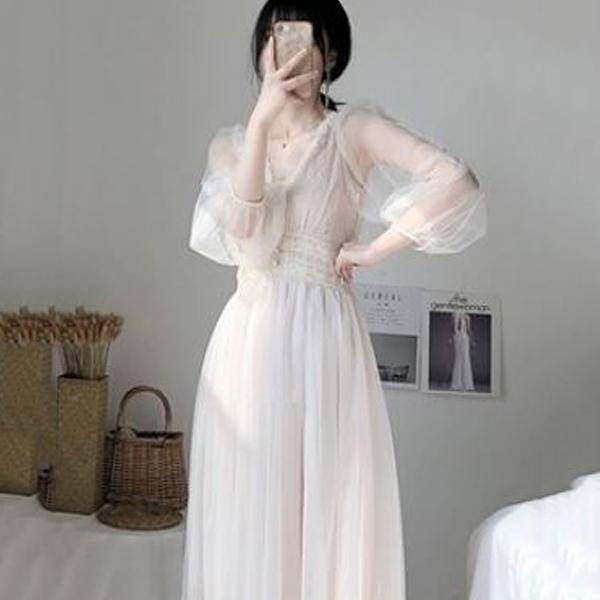 어썸투데이 셀프웨딩 드레스 브라이덜 샤워 쉬폰 시스루 여신 청순 원피스