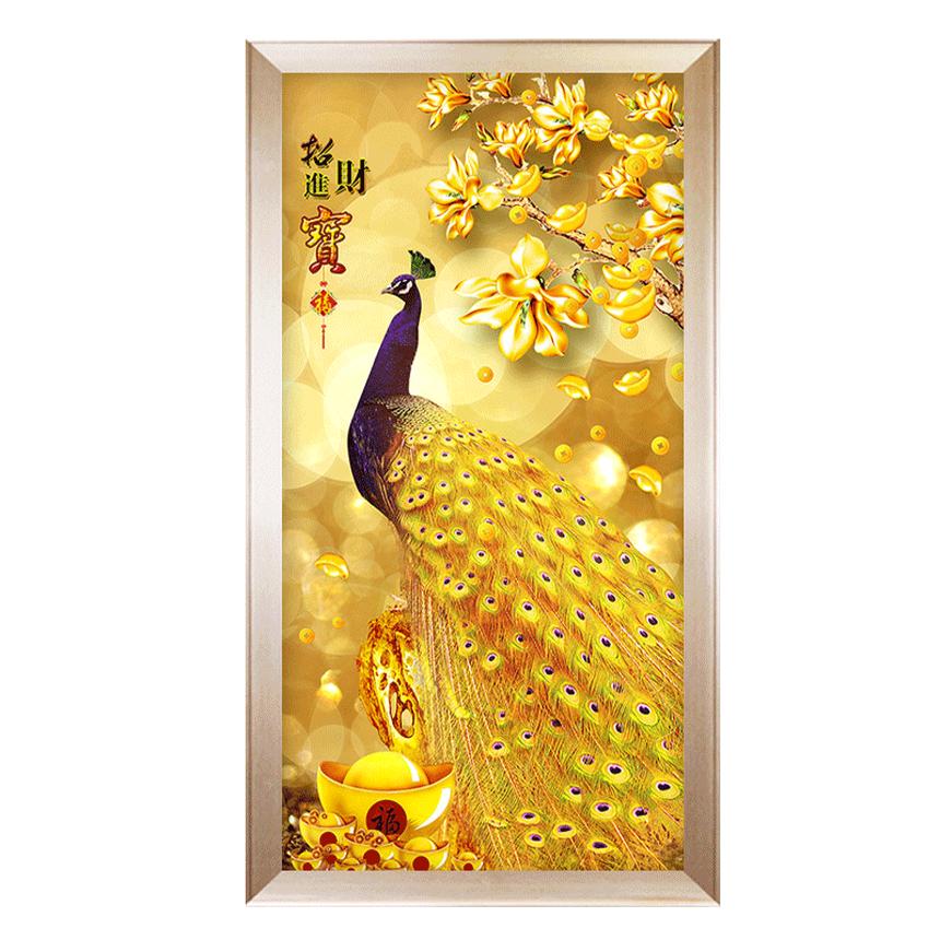 보배 보물 돈 금전수 황금 공작새 큐빅 비즈 보석십자수, 90x180