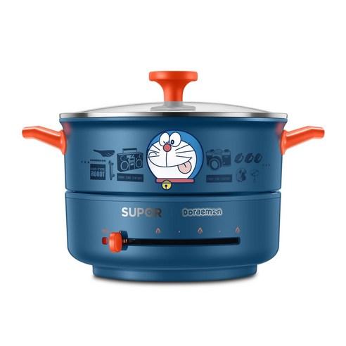 도라에몽 다기능 가정용 미니 용량 샤브샤브 전기 냄비, SUBOER 블루  2L