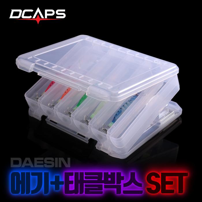 디캡스 캡스 에기20개+양면태클박스 문어에기세트 쭈꾸미 문어채비 루어/플라이훅, 왕눈이20개+태클박스
