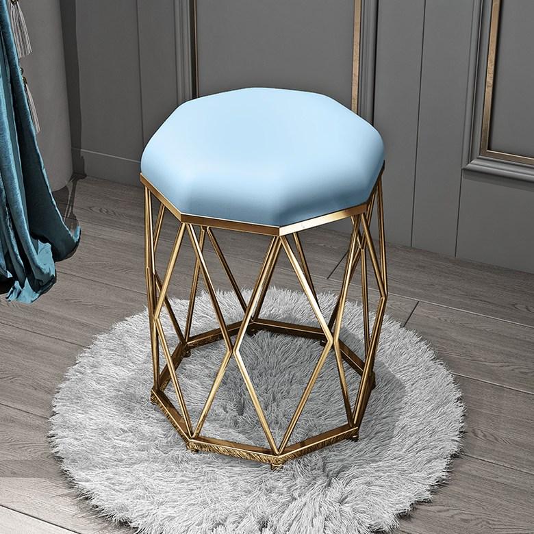 북유럽 모던 화장대스툴 화장대의자 감성의자 고품 럭셔리 고급 의자, 라이트 블루 벨벳 + 골든 팔각형 스툴