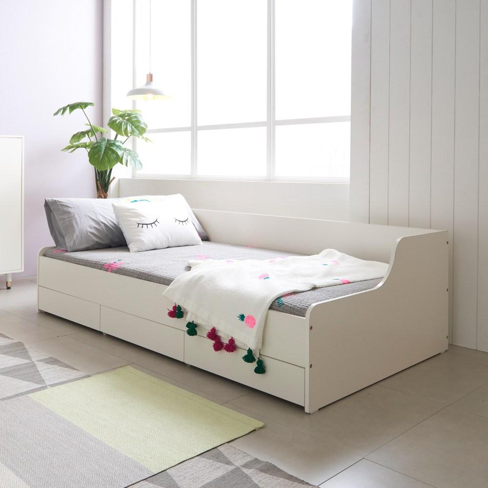 [소르니아] 모이 슈퍼싱글 수납형 서랍 어린이 침대, 아이보리