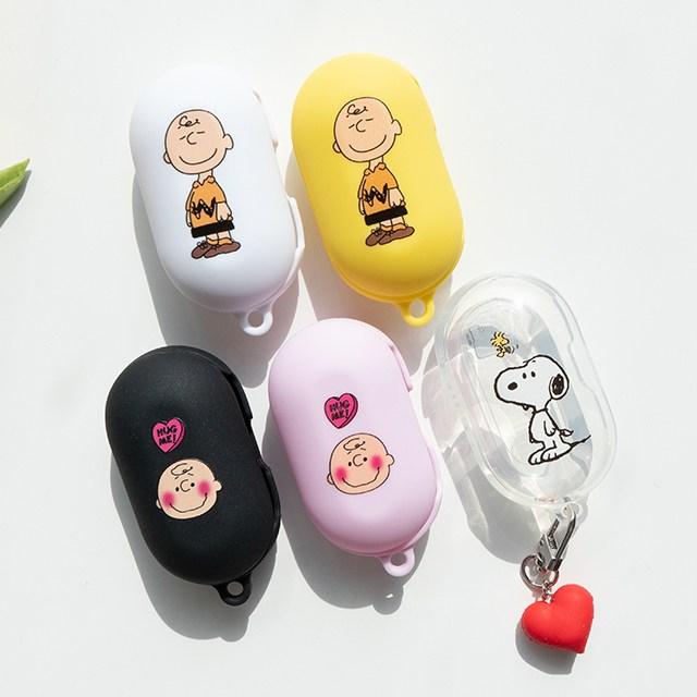 정녕마켓 스누피 찰리브라운 프린트 갤럭시 버즈 버즈플러스케이스 하드젤리 케이스, 핑크, 찰리브라운얼굴