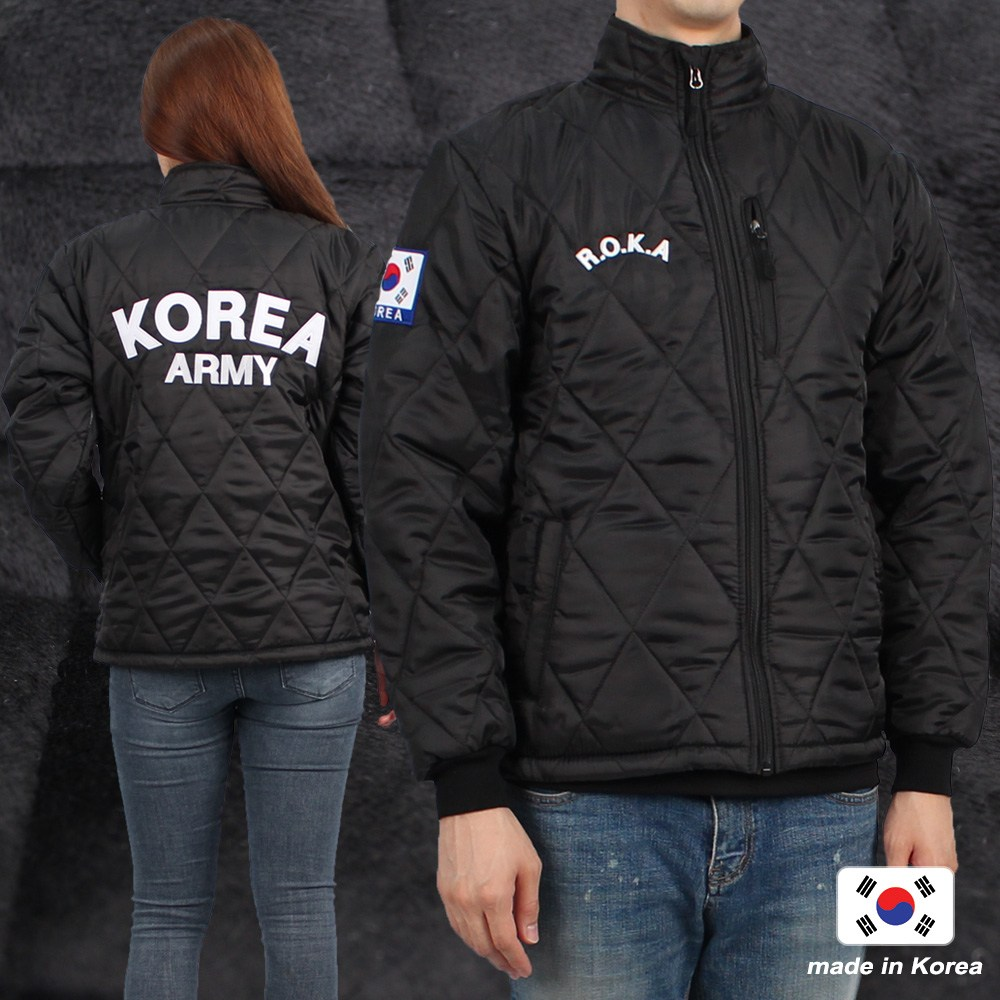 군인용품 ROKA 로카깔깔이 상의 검정 기모 발열 군인 군대 군용 점퍼 패딩 겨울