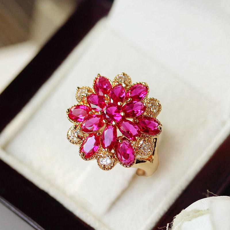 유색보석반지 한국 루비 다층 꽃송이 반지 여성오버 도금 로즈 분위기있는 저녘파티