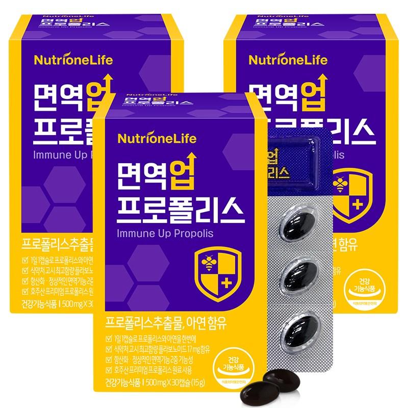 뉴트리원 면역력 강화 면역업 프로폴리스 항산화작용 플라보노이드 건강식품 호주산 + 활력환, 3box