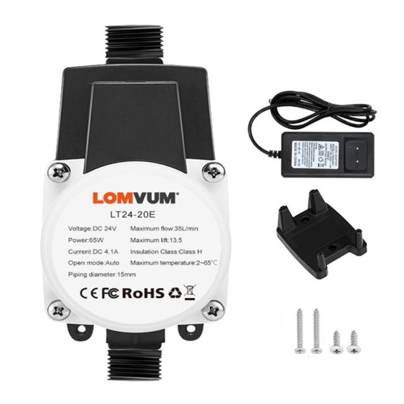 LOMVUM EU 부스터 펌프 브러시리스 워터 펌프 13.5M 24V 45W 자동 압력 컨트롤러 IP56 가정용 온수기 부스트, 협력사, 24V 업데이트