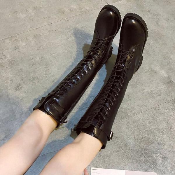 레이스업 버클 스트랩 지퍼 로우힐 여성 롱 부츠 (3.3cm) HI0827