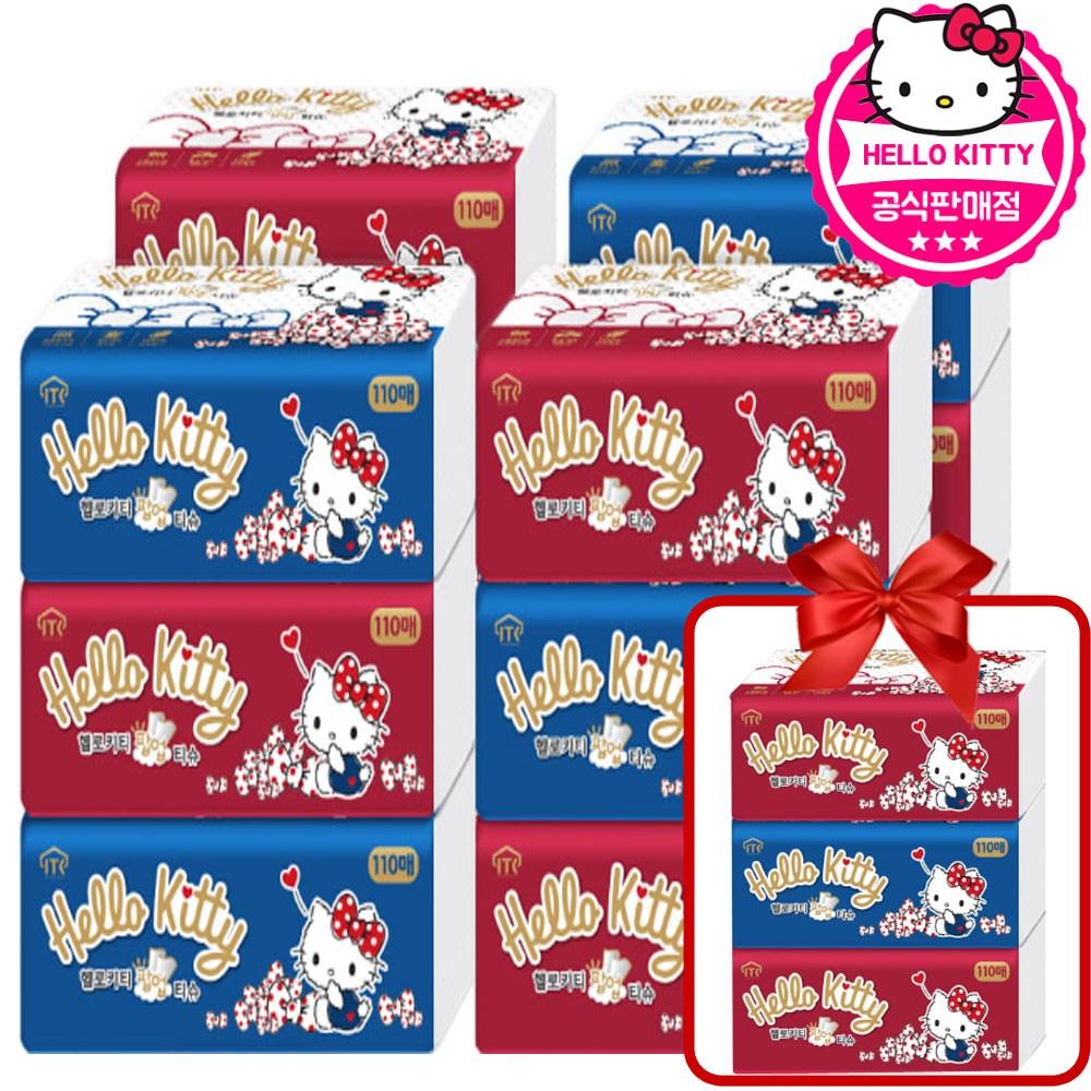 헬로키티 팝업티슈 3겹 110매 x 12팩 + 사은품 3팩 총15팩, 15개