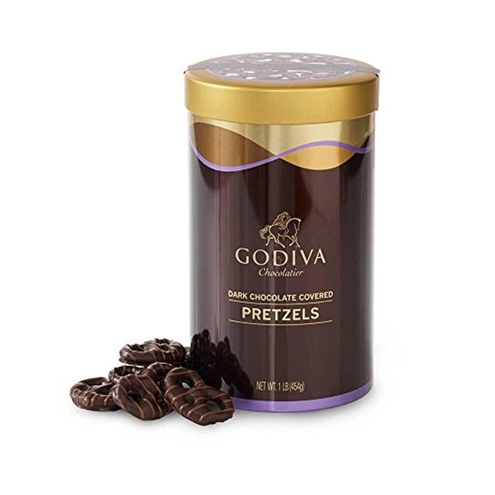 Godiva 아마존 베스트 GodivaDark Chocolate 고디바 다크 초콜릿 커버 프레즐 선물용기 1lb(454g), 1팩