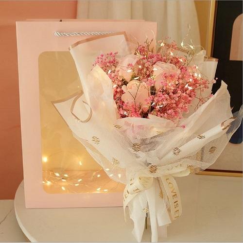 [ 램프 안개꽃 드라이플라워 ] 핑크 꽃다발 특별한선물 프리저브드플라워 10대 여성 20대여자생일선물 안개꽃다발 조화 추천 여자친구 꽃 다발 기념일 선물
