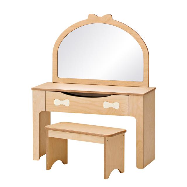 아이꿈터 원목 어린이 리본화장대 의자세트, 리본화장대 입식세트(800143)