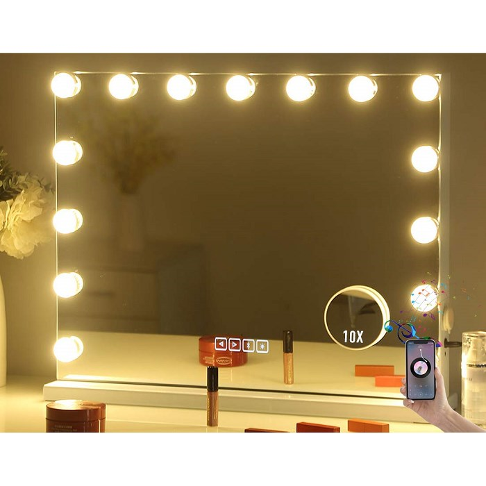 Large Vanity Makeup Mirror with Lights Bluetooth Hollywood Lighted Dressing Tabletop or Wall Mounted Beauty Mirrors 15 pcs Led Bulbs Detac, XL, One Color