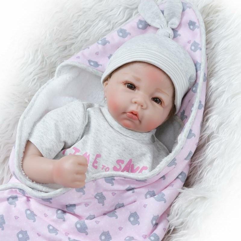 NPK 실리콘 리얼 아기 인형 50cm 1.2kg 리본돌 장식품
