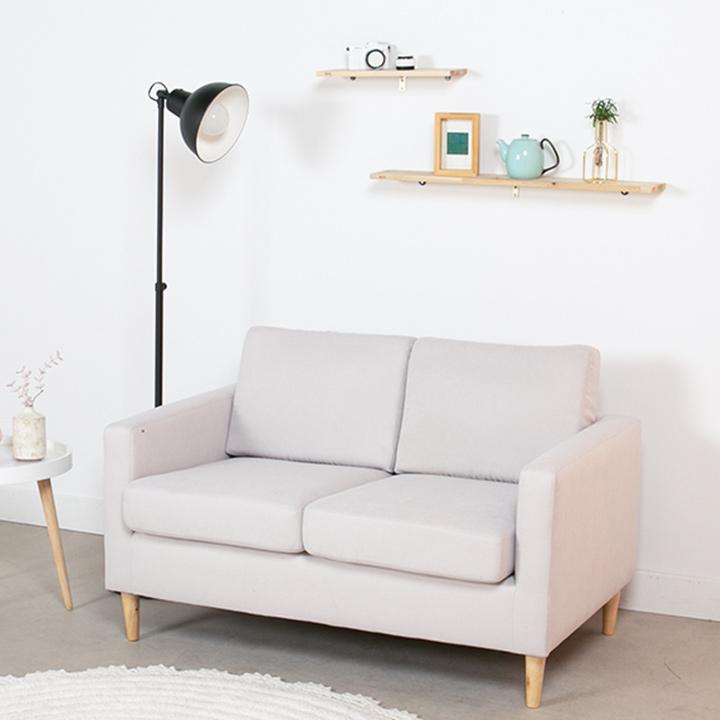 [한정수량 추가할인쿠폰+라텍스방석]에보니아 까페 2인 패브릭방수 소파 의자, 패브릭_라이트그레이