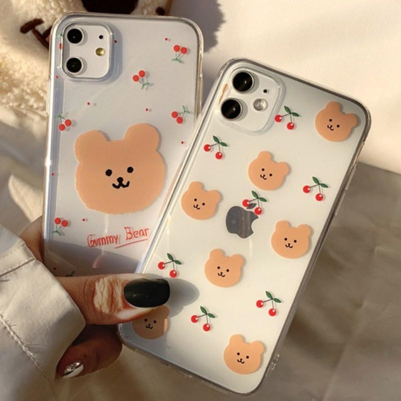 아이폰 SE2 곰돌이 패턴 투명 케이스