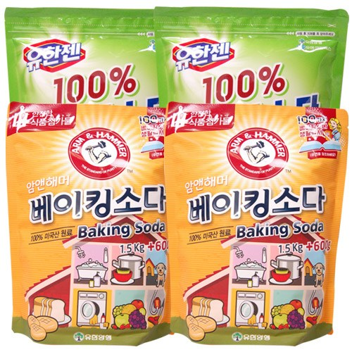 유한젠 과탄산소다 2kg+암앤해머 베이킹소다 1.5kg+600g, 2세트