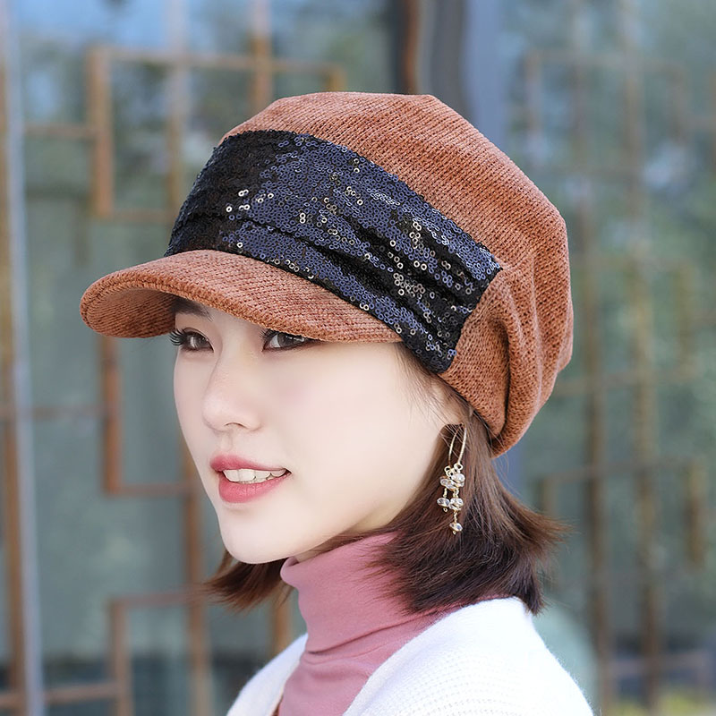 여성 가을 글리터 지붕이 텅 멀티 묶음머리 헌팅캡 블 스타일리쉬 귀막이 귀달이 승차 엄마모자