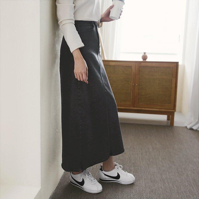 에스클로 여성 뒷트임 청치마 블랙 데님 롱 스커트 ~3XL 빅사이즈 히든밴딩 워싱 흑청스커트 국내생산