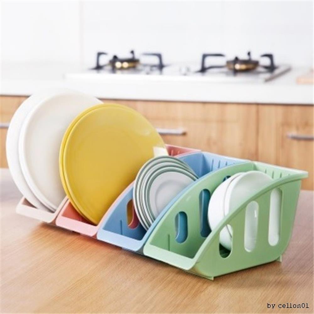 파스텔 접시수납랙 접시정리대x2개 그릇정리대 접시꽂이 그릇수납정리대, 블루