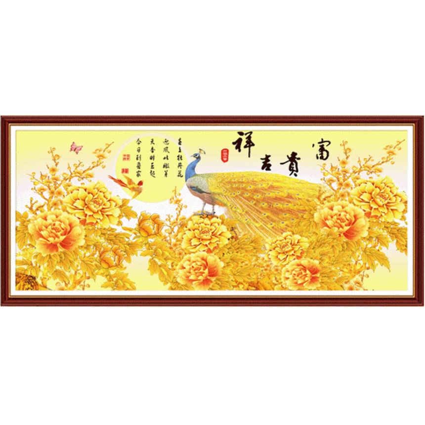 황금 공작새 모란 돈들어오는 대형 보석십자수, 150x60