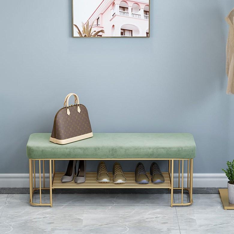 현관 스툴 벤치의자 신발정리의자 벨벳 북유럽 웅장함 간지 신발 변경 의자 홈 현대 미니멀 침실 침대 엔드 의자 의류 신발 가게 소파 문 입구, 에메랄드 그린 60 * 35 * 45cm 높이