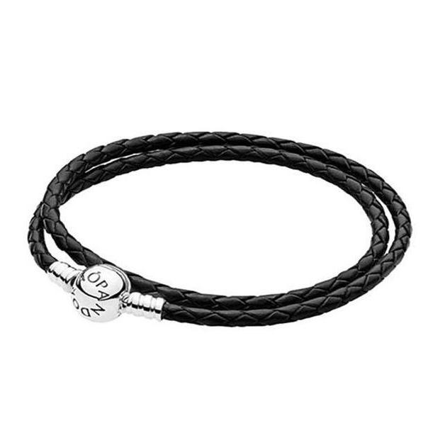 [판도라] Moments Double Woven Leather Bracelet 590745CBK-D