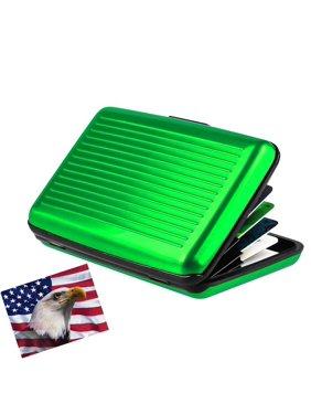 엘릿.구매제품 알루미늄지갑 소 그린 저항성 및 카드보호기 RFID블록 6개 포켓의 카드시트.슬림형 휴대성 여행용