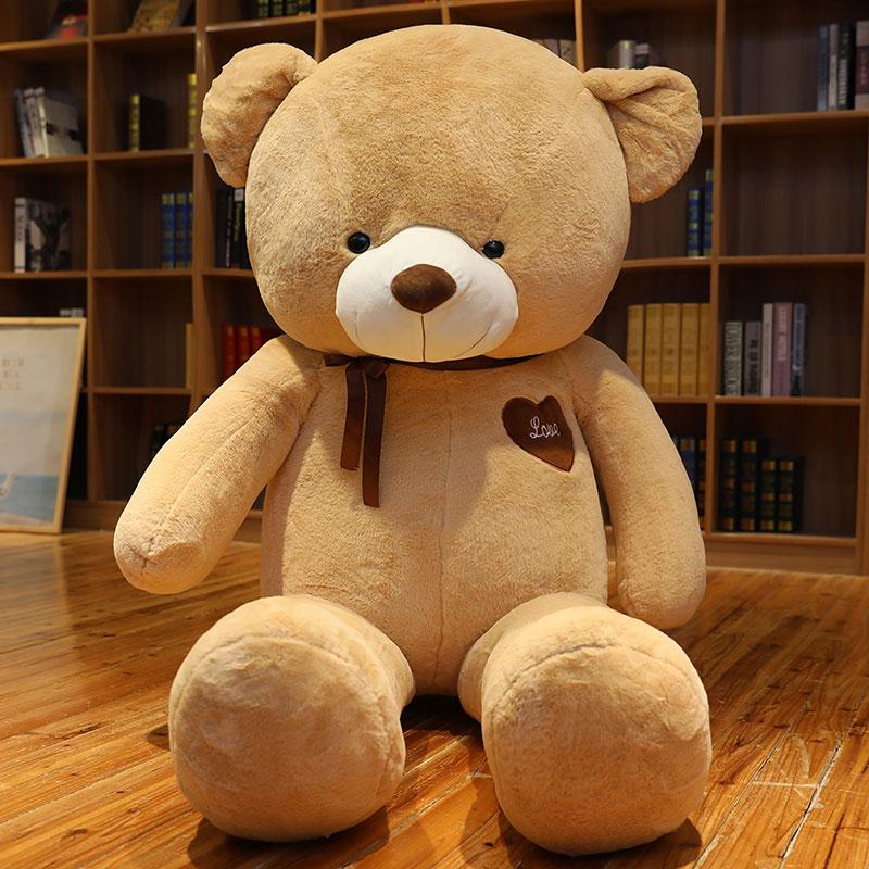 초대형 곰 봉제 장난감 귀여운 귀여운 곰 인형 포옹 곰 인형 소녀 잠자는 팬더 인형, 브라운 트루 베어, 1 미터 【가정용 장식】cm