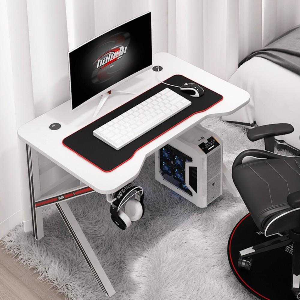 BJ 게이밍 게임용 PC방 컴퓨터 책상 데스크 의자 테이블, 화이트   80 * 60 * 75