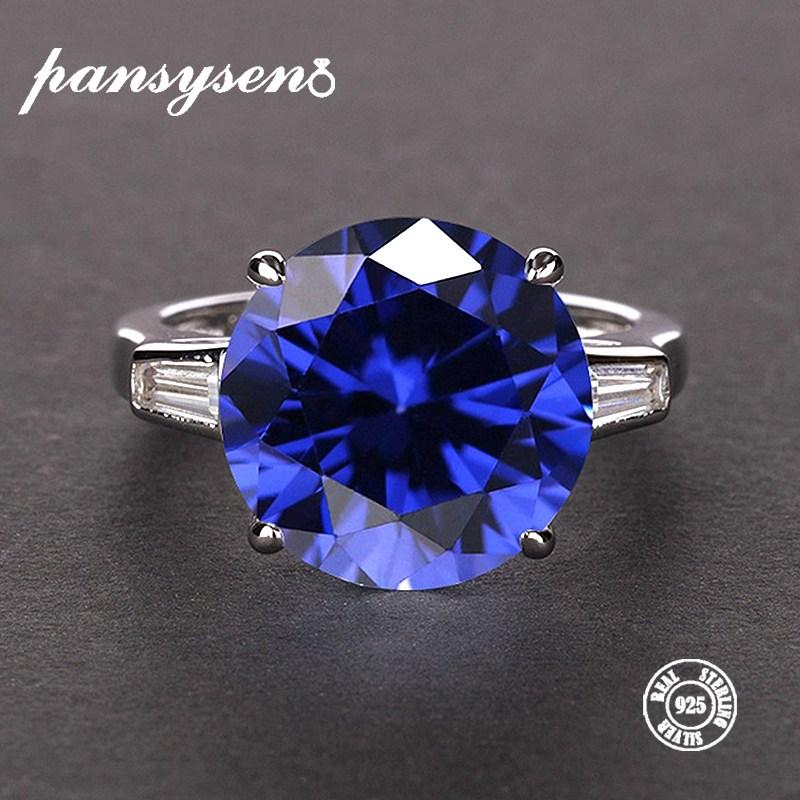 Pansysen 여자의 자연 사파이어 반지 100% 진짜 925 스털링 실버 주얼리 보석 반지 8 색 크기 5 12 약혼 선물