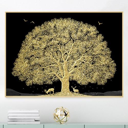 디데코 돈들어오는 황금 돈나무 인테리어 집들이 개업 선물 풍수 그림 액자, 황금돈나무(사슴)