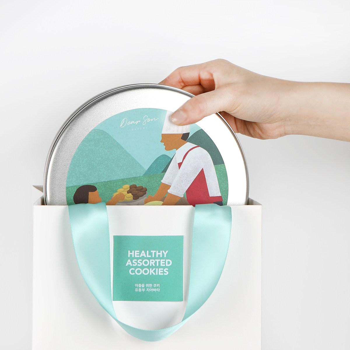 유동부 치아바타 건강한 수제 쿠키 선물 세트 벌크 대용량 500g (버터 아몬드 초코), 1통+쇼핑백