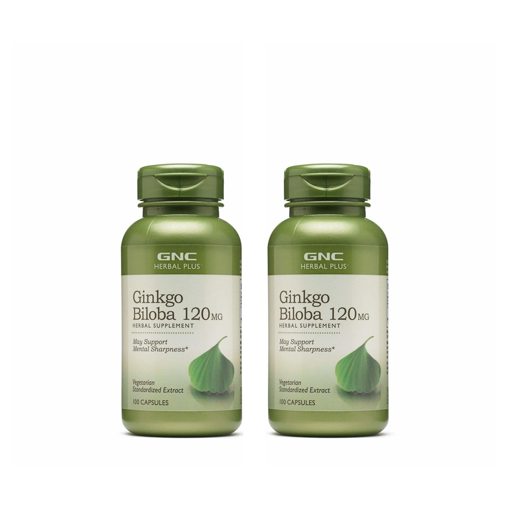 GNC Herbal Plus Ginkgo Biloba 지엔씨 허벌플러스 징코 빌로바 은행나무 추출물 120mg 100정 2팩, 2개, 100