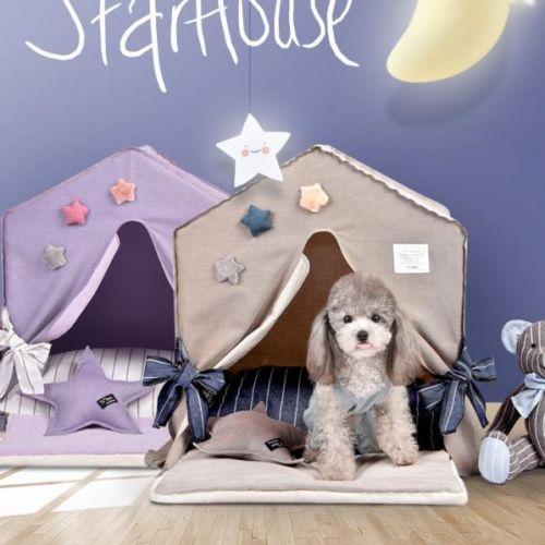 예쁜 강아지 하우스 애견 피카부 강아지집 루이독 텐트, 베이지