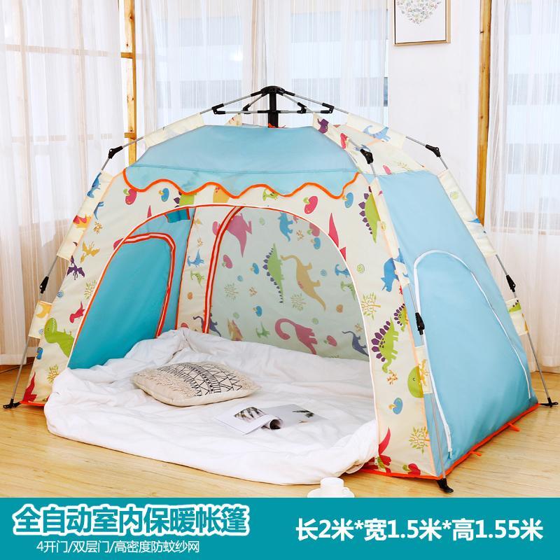 방텐트 자동 텐트 방안 면이너 겨울 성인 보온 방한가정용 침대, 2. 색상 분류: 카툰 블루 길이 2  폭 15  높이 155 미터 2-3 명