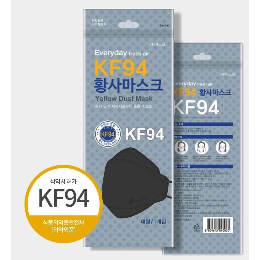 에브리데이 kf94 미세먼지마스크 블랙 50매 대형 개별포장, 1매입, 50개