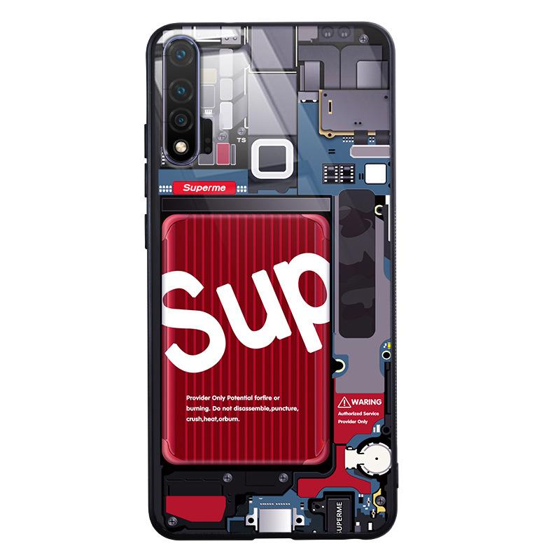 [wayfeel] SUP OFF-WHITE KAWS 슈프림 LED 발광 아이폰 7 8 SE2 Xr 11 Pro Max 갤럭시 S10 N10 S20 Plus 빛나는 핸드폰 케이스