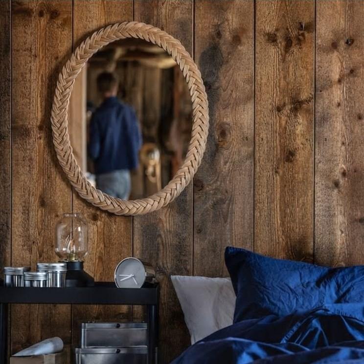 IKEA 이케아 라탄 벽걸이 욕실 화장대 원형 거울