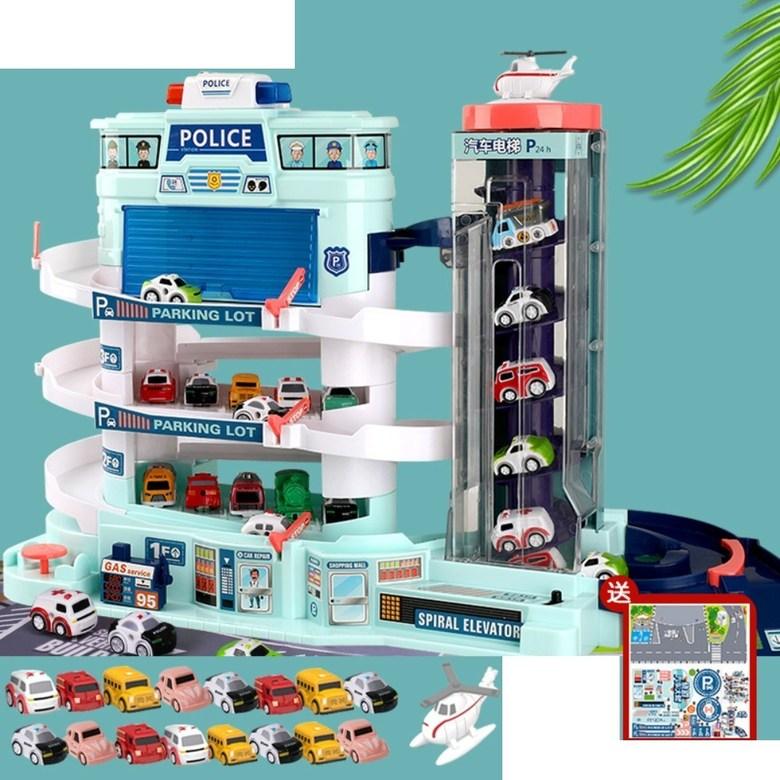 5층 대형 장난감 주차 타워 자동 엘리베이터 전동 컨트롤 작동 선물 서프라이즈 휴대폰 끊는법, 오버사이즈 경찰주차장+LED+차16+비행기1