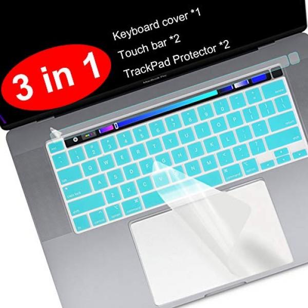 Lapogy 3 in 1 MacBook Pro 16 인치 키보드 커버 Pro 13 인치 2020 (A2289) 터치 바 보호대 터치 ID 보, 단일상품, 단일상품