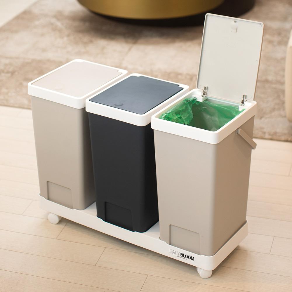 원터치 재활용 이동식 분리수거함 3p 혼합색상, 단품