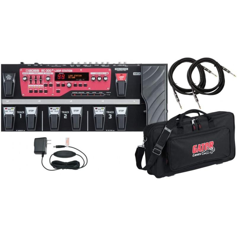 DLX 페달 백과 2 개의 기타 케이블이있는 보스 RC 300 루프 스테이션 루퍼 페달 보드, 단일옵션