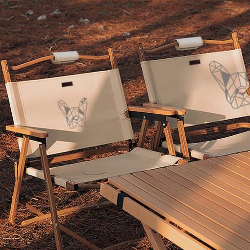 [매드독] 캠핑 폴딩로우체어 감성 우드 컴팩트 의자, 모던블랙 선택3_로고 중앙