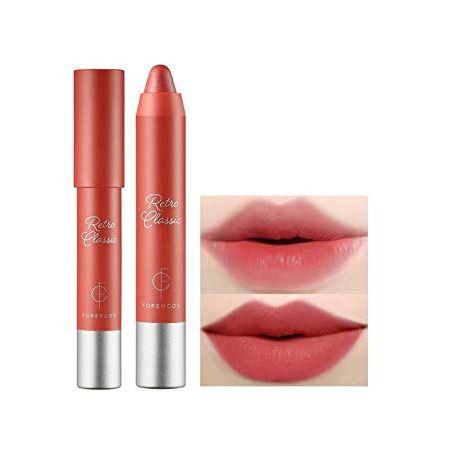 [FORENCOS] Retro Classic Lip Crayon 2.5g (Retro Chilli) - Creamy Velvet Finish Lip Balm Stick Vibr, One Size, Retro Ruby