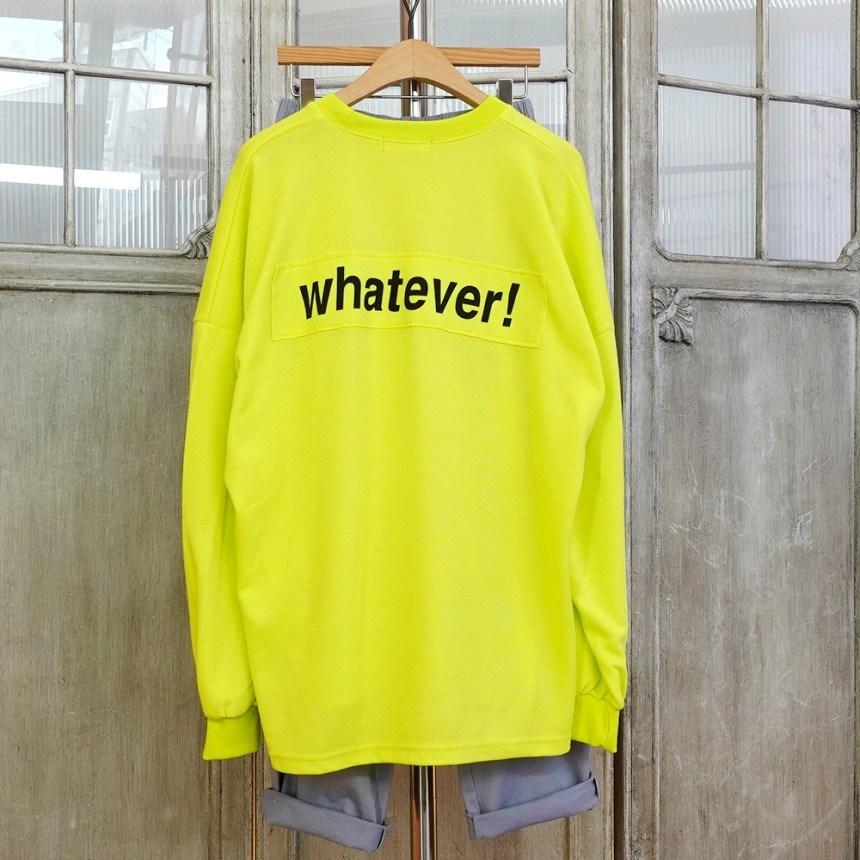 이힝 네온피버 레터링 패치 트임 긴팔 롱티셔츠 티셔츠